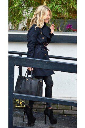 black coat - black bag - black pants - black heels