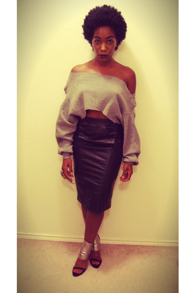 Leather Thrifted Skirts Cropped Diy Sweatshirts Alexander