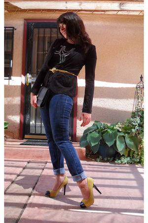 black Walmart blazer - black H&M t-shirt - blue BCBG jeans - gold vintage belt -