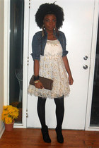 gold dress - black tights - dark brown vintage bag