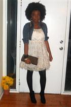 gold dress - black tights - dark brown vintage bag