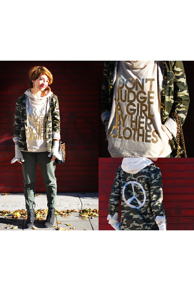 dark khaki camo no name jacket - off white no name sweater