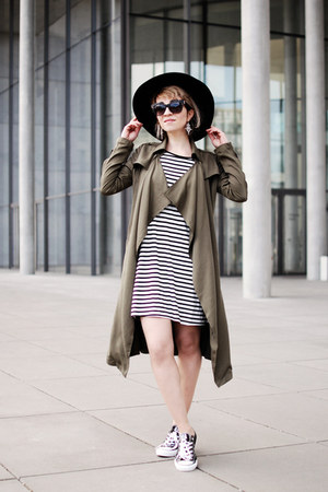 olive green long trench Pimkie coat - black striped shirt Forever 21 dress