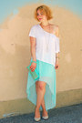 Aquamarine-studded-hallhuber-bag-aquamarine-high-low-new-yorker-skirt
