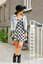silver polka dot H&M dress - black studded Zara boots