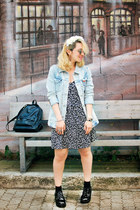 light blue Zara jacket - black asos boots - black millefleurs Forever21 dress