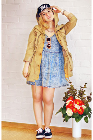 tan parka no name jacket - light blue Forever21 dress