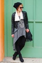 charcoal gray H&M dress - black fake leather H&M jacket