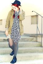 dark khaki H&M jacket - black floral Fashion Club scarf