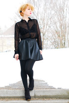 black chiffon c&a blouse - black fake leather tally weill skirt