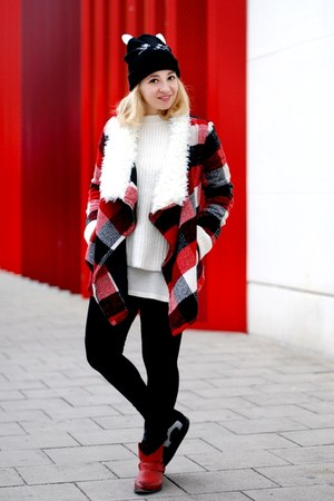 red tartan sammydress coat - white Zara jumper