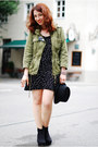 Black-star-printed-zara-dress-olive-green-military-zara-jacket