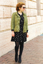 black swallow print H&M dress - dark khaki Zara jacket