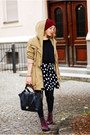 Brick-red-h-m-boots-tan-parka-no-name-jacket-black-polka-dot-c-a-skirt