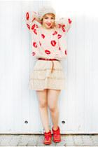 off white Sheinside jumper - red studded Zara boots