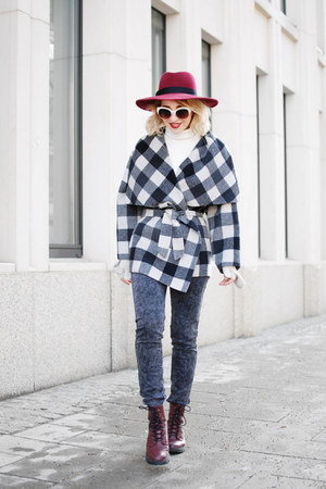 charcoal gray checked Zara coat - maroon H&M boots