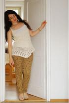 dark khaki floral Promod jeans - beige Jane Norman top - beige H&M wedges