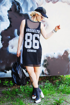 black numbers mesh Primark dress - black studded cap Pimkie hat