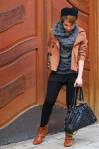bronze Primark boots - bronze H&M jacket - heather gray studded Zara top