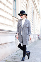 black trench Topshop coat - black pointy Zign boots - black Zara hat