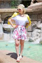 light yellow H&M blazer - neopren floral Pimkie skirt - white New Yorker sandals