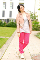 light pink leather H&M jacket - salmon chino Zara pants - silver H&M top