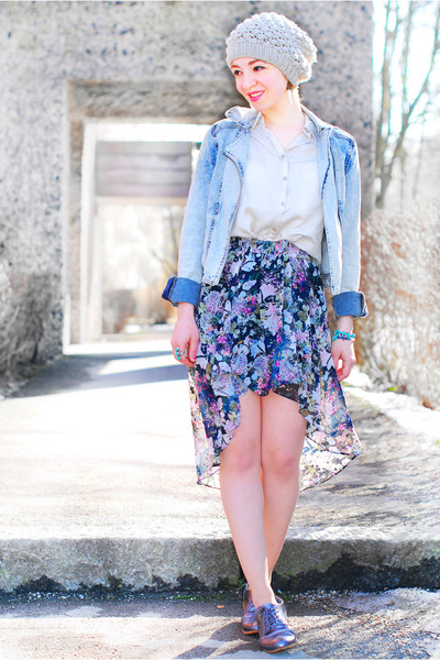 light blue H&M jacket - Zara skirt