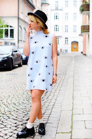 black asos boots - light blue eye print Zara dress