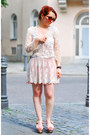 Off-white-lace-zara-jacket-off-white-lace-zara-skirt-nude-zalando-sandals
