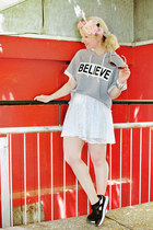 white lace asos skirt - heather gray printed Pimkie sweatshirt