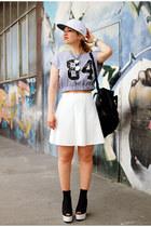 black I am bag - white neopren Pimkie skirt - black plateau H&M pumps