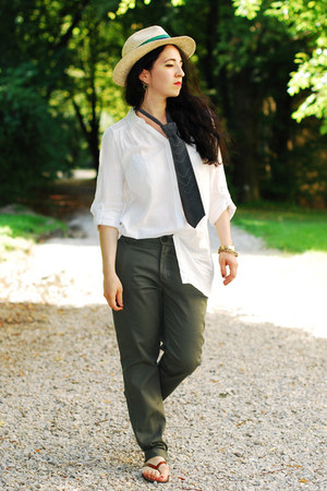 military New Yorker pants - Zara hat - H&M blouse