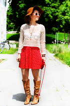 bronze vintage Buffalo boots - off white crochet H&M top - red c&a skirt