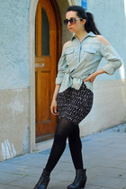 light blue Zara blouse - black printed H&M skirt - black vagabond wedges