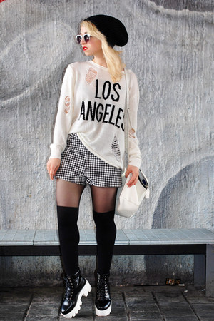white grid Forever21 shorts - black plateau blackfive boots