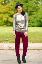 brick red chino Zara pants - silver silver Zara jumper