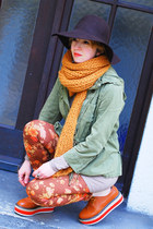 burnt orange creeper OASAP boots - no name leggings - mustard Zara scarf