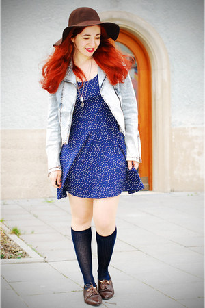 polka dot H&amp;M dress - Promod hat - acid wash H&amp;M jacket