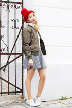 olive green bomber c&a jacket - black Forever 21 skirt - white Zara sneakers
