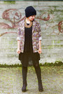 Black-little-black-zara-dress-dark-khaki-camouflage-new-yorker-jacket