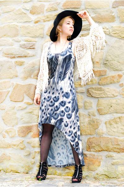 tan maxi customized warehouse dress - ivory fringed Nasty Gal cardigan