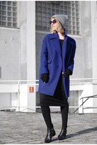 navy wool united colors of benetton coat - black pointy Zign boots