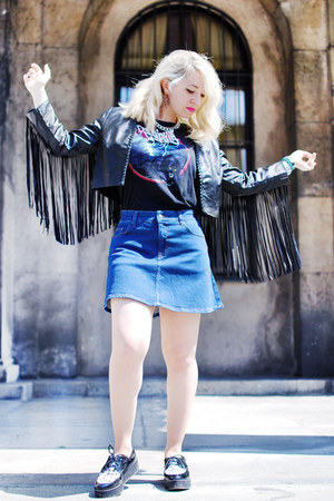 black H&M jacket - blue denim Zara skirt - black printed Denim&Supply t-shirt