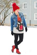 blue spiked denim Zara jacket - red cowboy Zara boots - tiger Zara sweatshirt