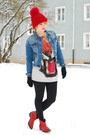 Red-cowboy-zara-boots-blue-spiked-denim-zara-jacket-tiger-zara-sweatshirt