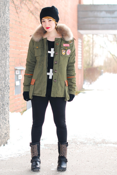 olive green military chicnova jacket - black cross c&amp;a sweater