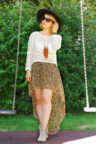 bronze leopard H&M skirt - ivory fringed Tamaris boots