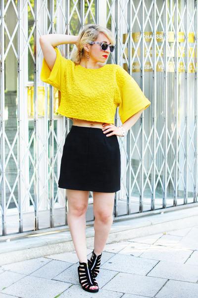 Yellow Cropped H Amp M Sweatshirts Black As Line Asos Skirts