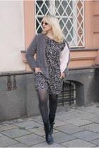 silver fake fur Zara jacket - heather gray floral H&M suit