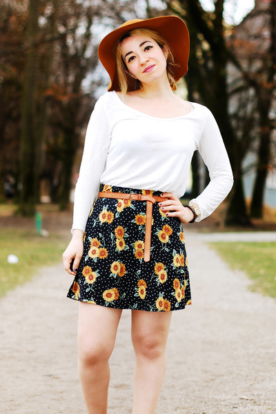 asos skirt - burnt orange floppy Hallhuber hat